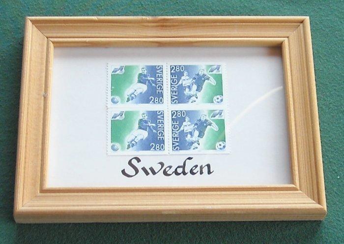 Sweden 4 Block 2.80 KR Stamps Framed