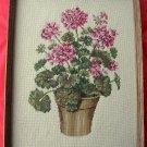 Large Vintage Pink Geranium Needlepoint Picture Framed Under Glass