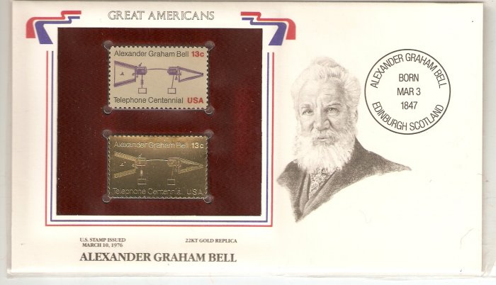 GREAT AMERICANS GRAHAM BELL US 13 CENTS GOLD 1976