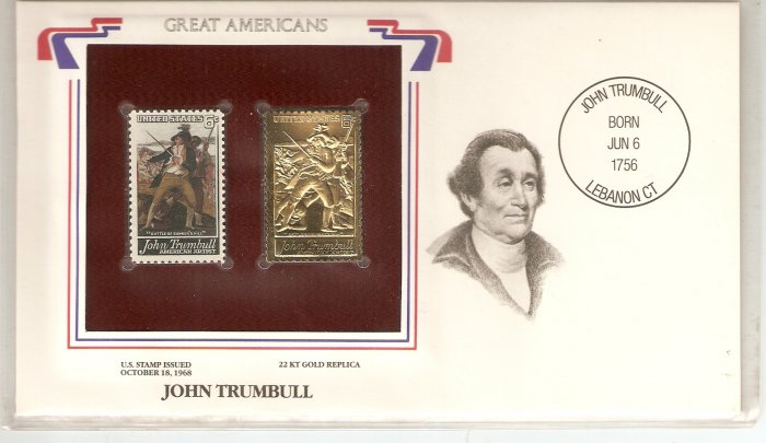 GREAT AMERICANS JOHN TRUMBULL US 6 CENTS GOLD 1968