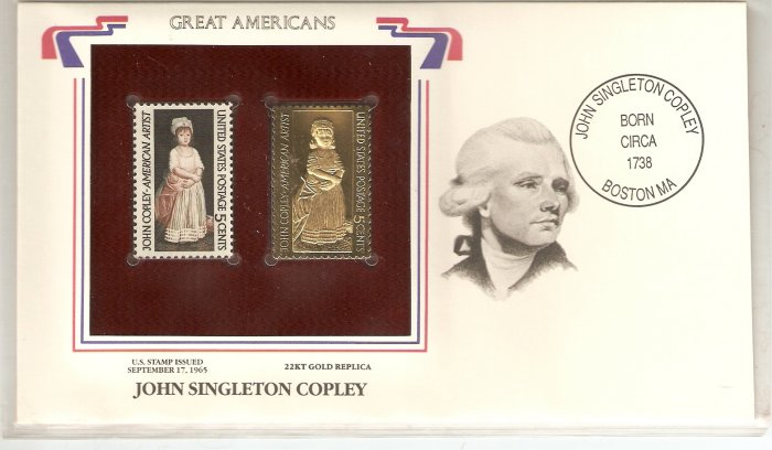 GREAT AMERICANS JOHN SINGLETON COPLEY US 5 CENTS GOLD 1965