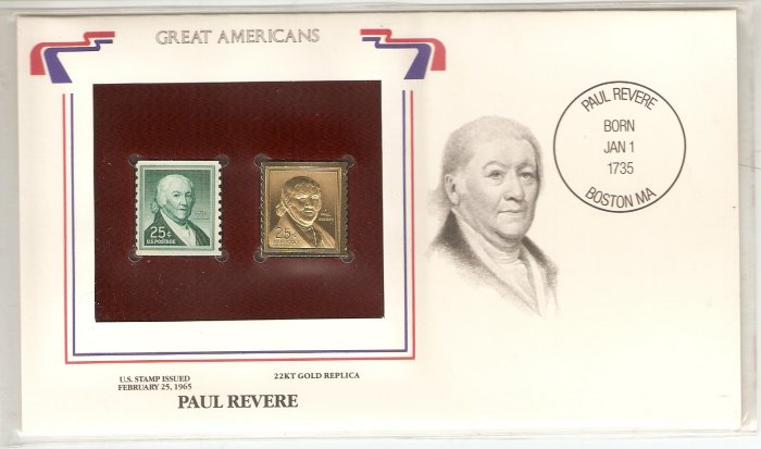 GREAT AMERICANS PAUL REVERE US 25 CENTS GOLD 1965