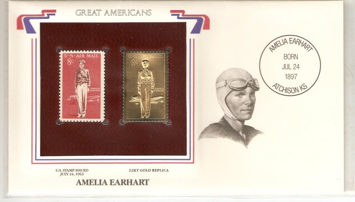 GREAT AMERICANS AMELIA EARHART US 8 CENTS GOLD 1963