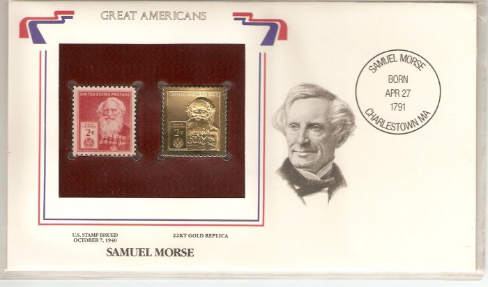 GREAT AMERICANS SAMUEL MORSE US 2 CENTS GOLD 1940