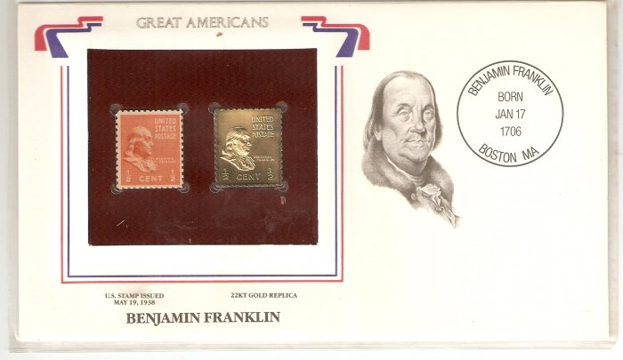 GREAT AMERICANS BENJAMIN FRANKLIN US 1/2 CENTS GOLD 1938