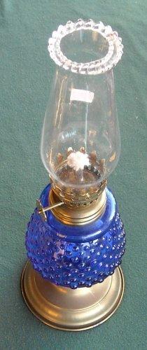 Vintage Miniature Oil Lamp Blue Glass Hobnail