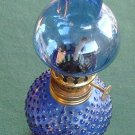 Vintage Miniature Oil Lamp Blue Shade And Hobnail Glass