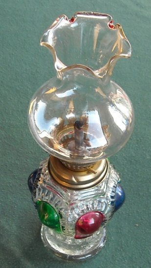 VINTAGE MINIATURE OIL LAMP RED GREEN AND BLUE PAINTED GLASS