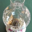 Vintage Oil Lamp Clear Glass Shade And Porcelain Base