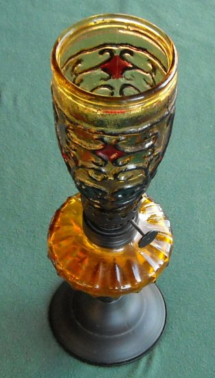 Vintage Miniature Oil Lamp Amber Glass Shade And Base