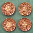 Vintage Set of 4 Teak Wood With Inlay Coasters