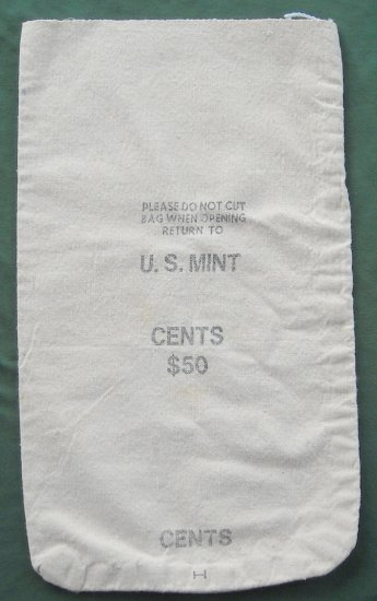 Vintage Retired Us Mint $50 Cents Coin Canvas Bag No 3
