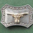 Texas Longhorn Steer Vintage Belt Buckle