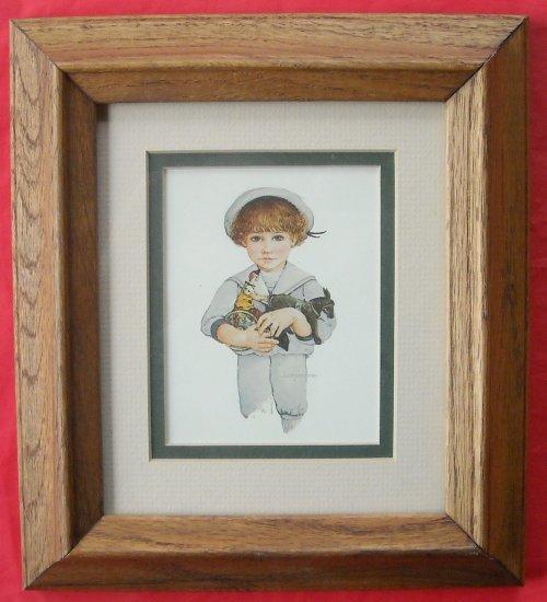 Jan Hagara Lithograph: Jan Hagara Print Child And Toys 1984 Framed