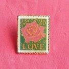 Rose Love USA Postal 25c Stamp tie tac pin