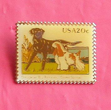 Usa Postal 20c Chesapeake Bay Retriever Cocker Spaniel Stamp Tie Tac Pin