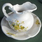 Vintage McCoy yellow flowers pitcher and bowl