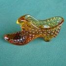 Vintage Fenton Art Glass Cat Shoe Amber