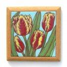 Tulip Framed Handmade Cuerda Seca Tile Terra Madre Jude Toler Oregon