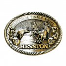 National Finals Rodeo Roping Cowboy Hesston Vintage Belt Buckle