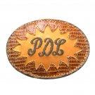 PDL Tony Lama Brown Leather Vintage Cowboy Belt Buckle