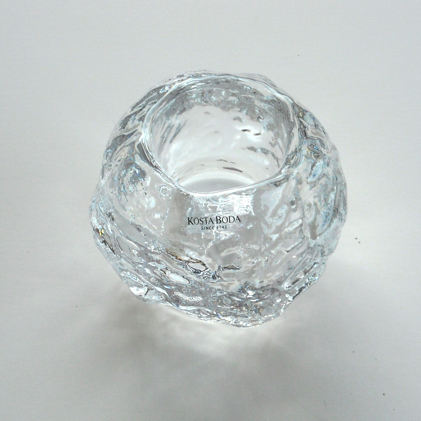 kosta boda vintage snowball crystal votive candle holder
