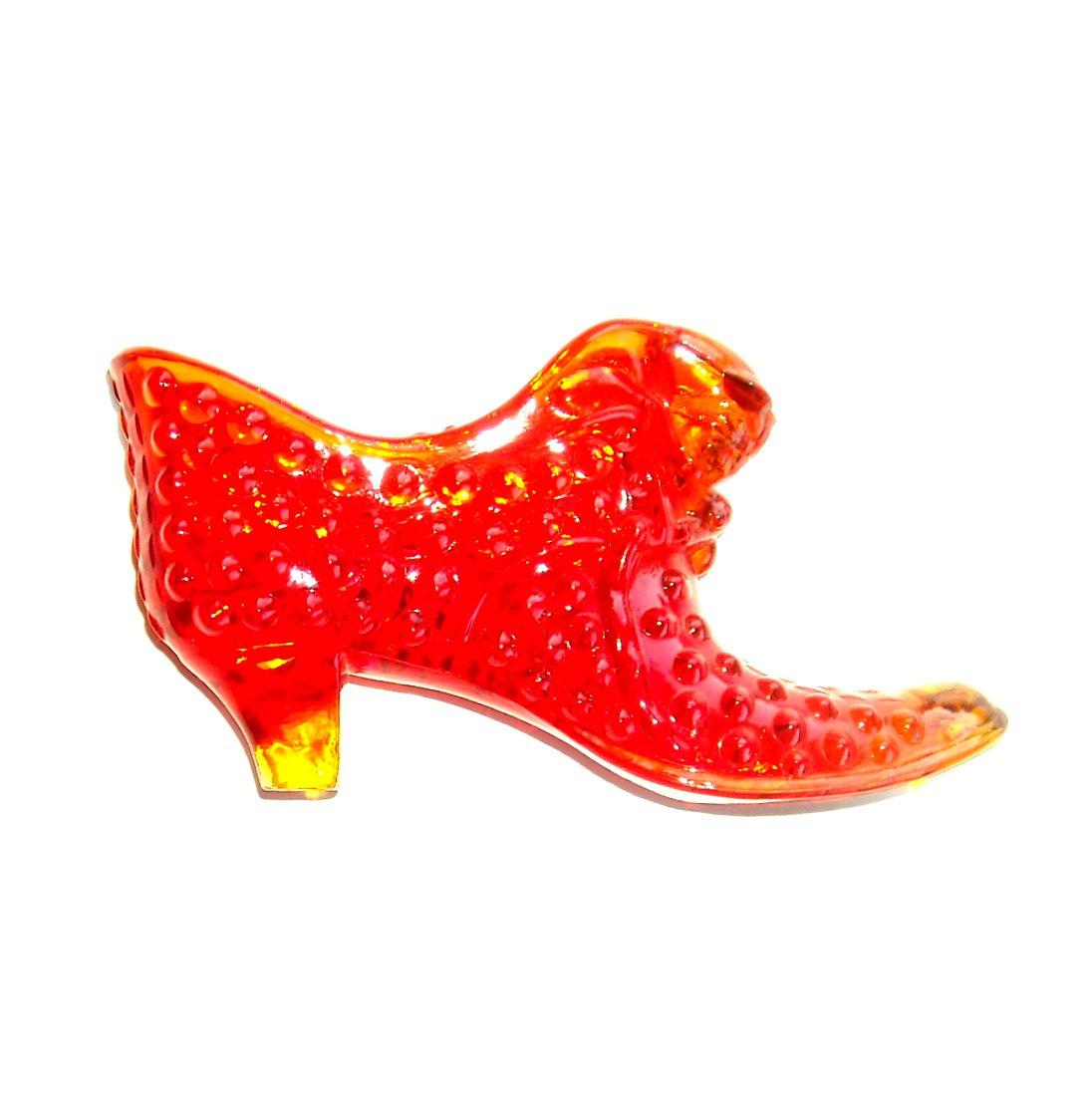 Vintage Fenton Art Glass Cat Hobnail Shoe Cranberry Red