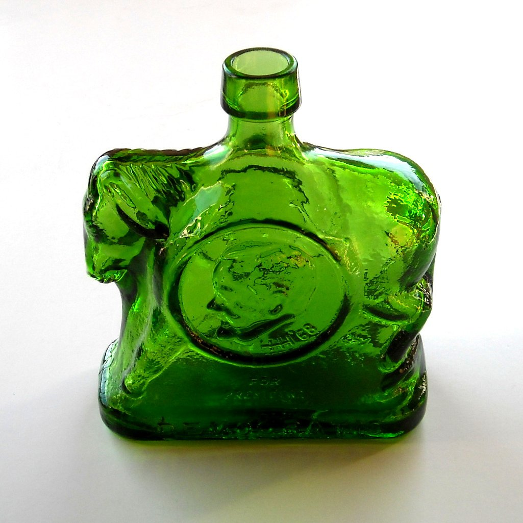 Wheaton Democratic Campaign Donkey Green Glass Bottle 1968