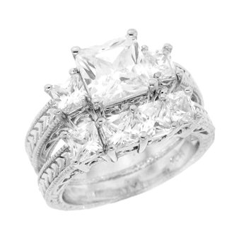 Silver Engagement 2 Set Rings