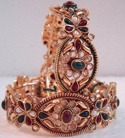 Bollywood Style Bracelet, Kada in Polki, Kundan from India -EC01, Free Shipping All Over World