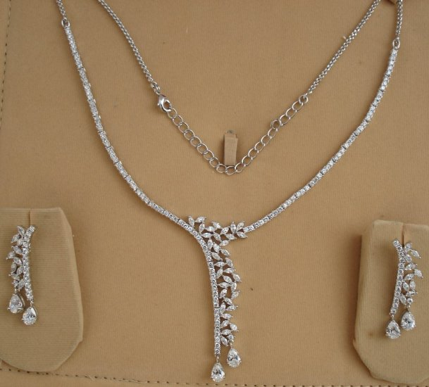 Leaves Design American Diamond Necklace Set- S39. Free Shipping Worldwide.