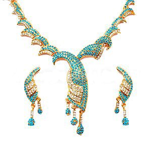 Blue Peacock Necklace Set in Gleaming CZ's & Stones- S67 - Ships Free Worldwide