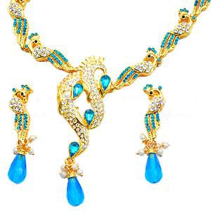 Blue and White CZ studded Necklace Set - S68 - Ships Free Worldwide