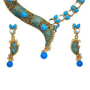 Ocean Blue Drop Necklace with Kundan work- S69 - Ships Free Worldwide