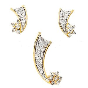 Pendant and Earrings Set, Gold Plated - S71 - Ships Free Worldwide