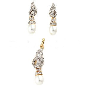 Pendant and Earrings Set, Gold Plated - S72 - Ships Free Worldwide