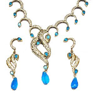 Blue Stone and CZ Studded Victorian Set, Gold Plated - S73 - Ships Free Worldwide