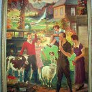 RARE*REYLEA* FIRST PRIZE VINTAGE LITHOGRAPH-Sheep,Cow,Chickens,Calf