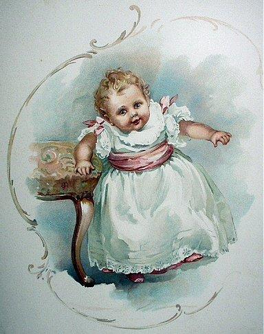 Sweet Baby,Little Girl Walking Antique Chromolithograph Print