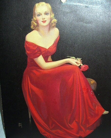 GORGEOUS-ROY BEST-VINTAGE CALENDAR PRINT-LADY IN RED DRESS HOLDING RED ROSE