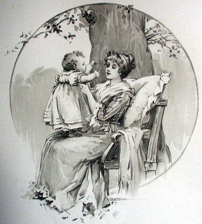 Wonderful Antique Print-Loving Mother Hold Baby Girl,Sitting Under Tree