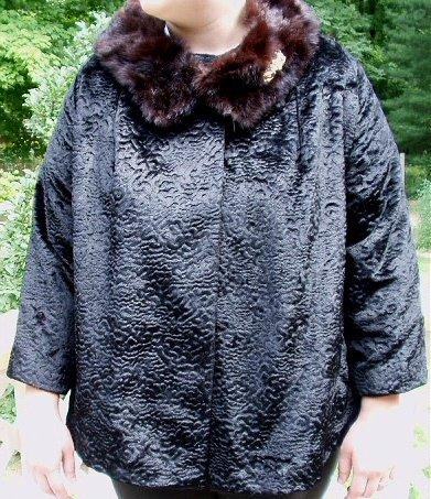 Gorgeous Vintage Sixties Black Evening Jacket with Genuine Mink Collar