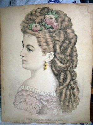 Original Civil War Antique CURRIER IVES-THE SOUTHERN ROSE