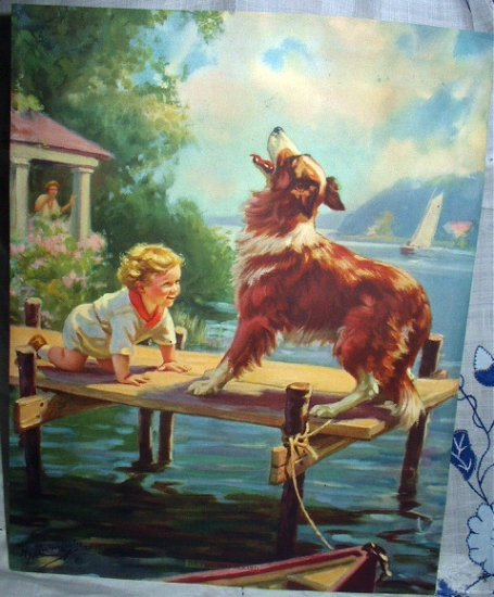 1920s HY HINTERMEISTER Lithograph -THE CALL THAT RESCUED-Collie Guarding Baby