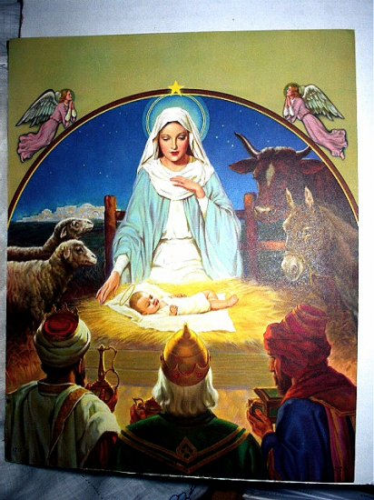THE NATIVITY-Lovely Religious Lithograph Print,Baby Jesus