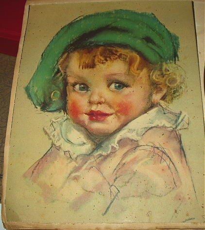 C1930s Vntg Calendar Top-Adorable Blue-Eyed BABY FACE-MAUD TOUSEY FANGEL