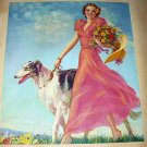 Art Deco Beauty In Pink Walking Wolfhound Dog-J. Erbit Lithograph Print