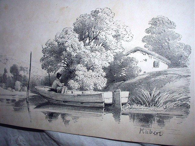 Antique Print-HUBERT-Man Fishing In Rowboat