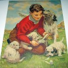 A GRATEFUL PAL-E.B.SEGNER-Sweet Boy Bandaging Puppy Springer Spaniel Lithograph