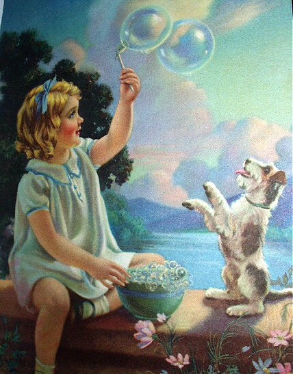 PLAYMATES-Girl Blowing Bubbles with Puppy-MABEL ROLLINS HARRIS-LITHOGRAPH PRINT